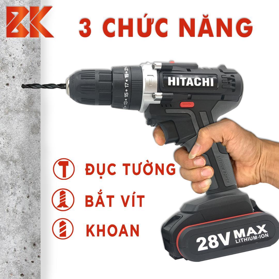 [TẶNG MŨI KHOAN] Máy khoan pin cầm tay HITACHI 28V+++ 3 Chức năng ( Có búa khoan tường )  (Có lựa chọn 1 PIN hoặc 2 PIN)