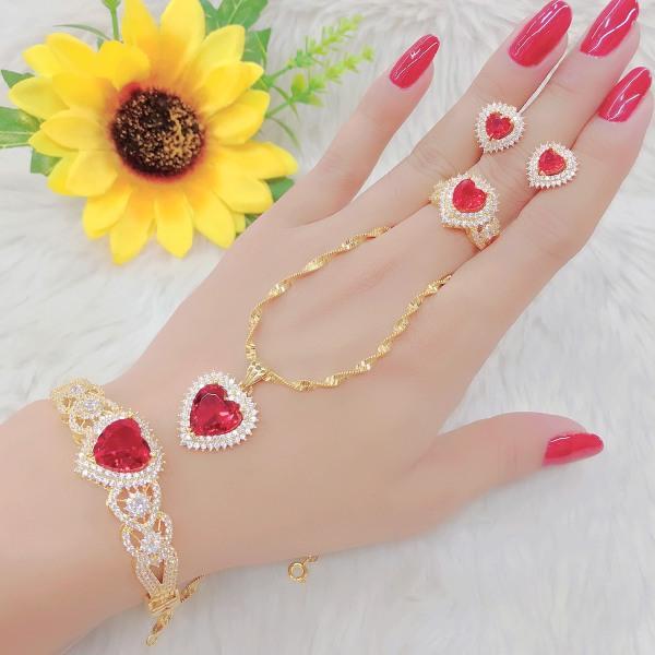 Bộ Trang Sức Trái Tim Cao Cấp Xi Bạch Kim - Givishop - B4170553, Bền Màu, Sáng Như Vàng Thật, Chất Liệu Bạc Thái, Không Đen, Không Ngứa - Thiết Kế Đi Tiệc - bộ trang sức vàng 18k, vàng trang sức, bộ trang sức vàng tây, bộ trang sức