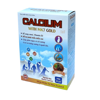 Canxi sữa tăng chiều cao cho bé, chắc khỏe xương cho bé từ 6 tháng tuổi Calcium With MK7 Gold - Hộp 20 gói thumbnail
