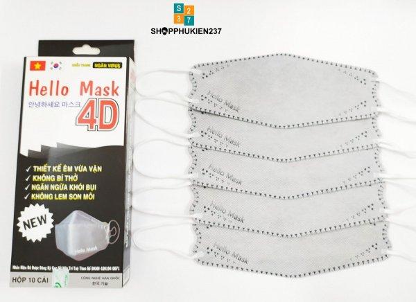 [HCM]Hộp 10 Cái Xám - Khẩu Trang Hello Mask 4D form đẹp dễ sử dụng