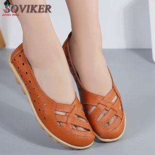 SOVIKER Giày Đế Bằng Nữ Giày Lười Siêu Mềm Chống Trượt Cho Mẹ Giày Lười Nữ Ngoại Cỡ Nhiều Màu Giày Da Nữ Thời Trang Giày Da Đanh Đế Xuồng thumbnail