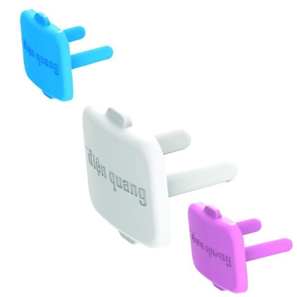 1 NẮP CHE LỖ ĐIỆN THƯƠNG HIỆU ĐIỆN QUANG, một nút che ổ cắm điện, bảo vệ an toàn cho trẻ em bé, hàng chính hãng tiện lợi đẹp tốt rẻ, màu trắng hồng xanh da trời, tránh con nít đút tay ổ điện