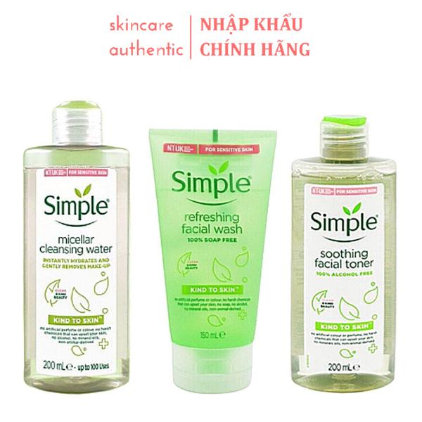Combo Làm Sạch Simple Tẩy Trang 200ml + Sữa Rửa Mặt 150ml + Nước Hoa Hồng 200ml , combo dưỡng da chăm sóc da skincare
