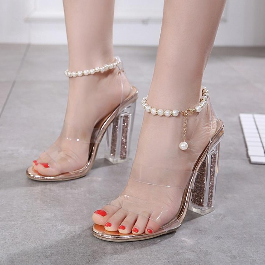 ( Bảo hành 12 tháng ) Giày cao gót nữ gót trong kim tuyến quai ngọc trai vòng cổ chân cao cấp - Giày sandal cao gót 10cm - Giày nữ 2 quai ngang Mika trong suốt - Linus LN127 giá rẻ