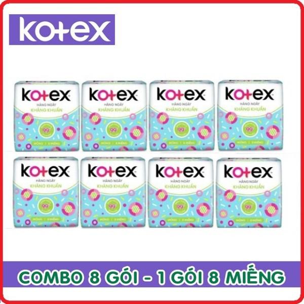 Lốc 8 gói băng vệ sinh Kotex hàng ngày kháng khuẩn gói 8 miếng cam kết hàng đúng mô tả chất lượng đảm bảo an toàn đến sức khỏe người sử dụng cao cấp