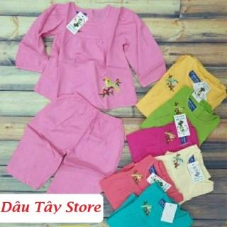 Bộ tone bé gái, bộ lanh, bộ tole Bộ Bảo Ngọc dài tay bé gái vải Cty Việt Thắng, mặc ngủ mặc nhà từ 7 đến 37 kg thumbnail