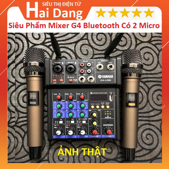 Combo Trọn Bộ Mixer Yamaha G4 Bluetooth - Tặng Kèm 2 Micro Không Dây ,Bàn Mixer G4 Live Stream   Karaoke Xe Hơi Hỗ Trợ Màn Hình LED Có Bluetooth Dành Cho Loa Kéo - Âmly Dàn Hát Karaoke Gia Đình Âm Thanh Cực Hay . Bảo Hành 12 Tháng
