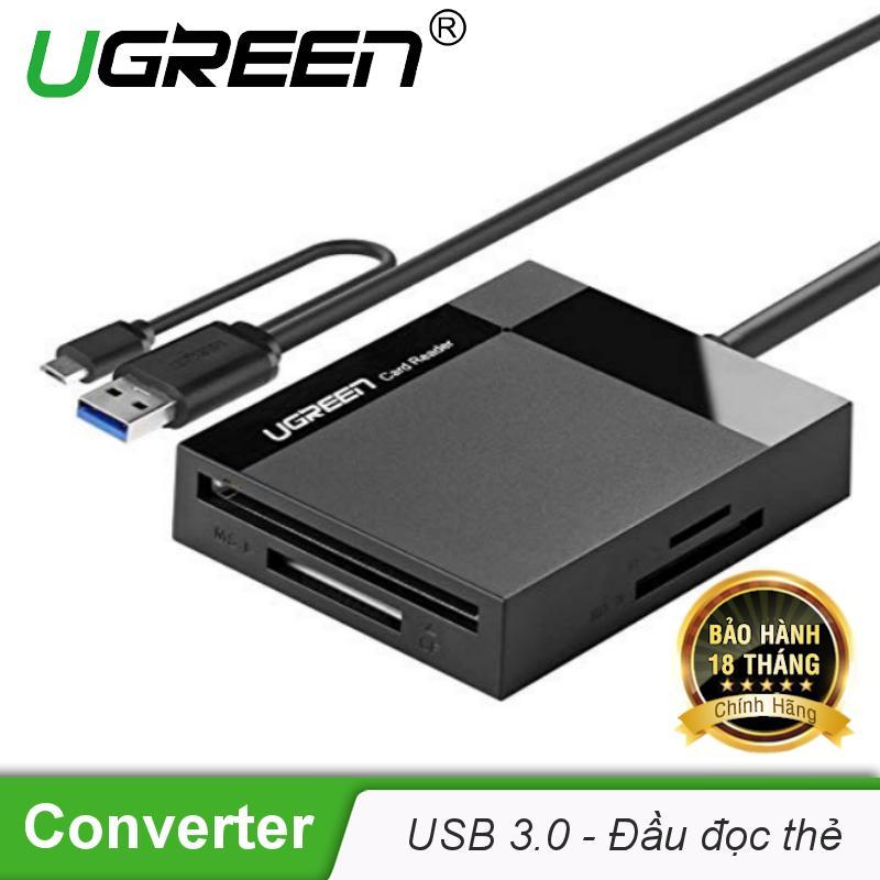 Đầu đọc thẻ USB 3.0 hỗ trợ thẻ TF/SD/CF/MS dài 0.5m UGREEN CR125 30230 - Hãng phân phối chính thức