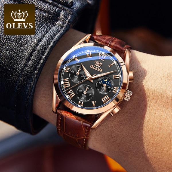 Đồng hồ nam OLEVS 2871 thạch anh, 6 kim chống nước, chống xước size 42 nam tính mạnh mẽ tặng kèm quà tặng hấp dẫn bán chạy