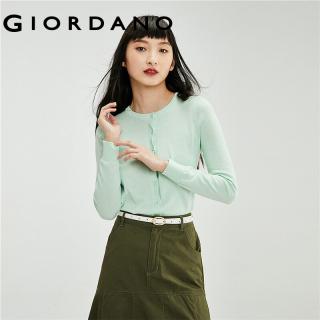 Áo Len Nữ GIORDANO Women Cổ Tròn Hở Ngực Màu Thuận kiểu Mỏng 100% cotton Mềm mịn 05351866 thumbnail