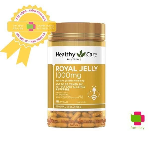 Sữa Ong Chúa Healthy Care Royal Jelly 1000mg, Úc (365 viên) làm đẹp da, cải thiện nội tiết, chống lão hóa