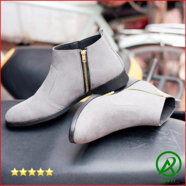 Giày Chelsea Boot Nam Cổ Khóa Rất Dễ Xỏ Da Búc Màu Xám Cực Đẹp -BUCKXAM+CB521 giá rẻ