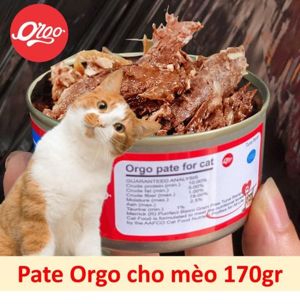 Orgo Pate Lon lớn 170gr - Pate cho mèo - Thức ăn ướt dạng mảnh đóng hộp cho mèo / pate Hỗn hợp ăn liền / thức ăn mèo dạng sốt / dinh dưỡng cho mèo biếng ăn