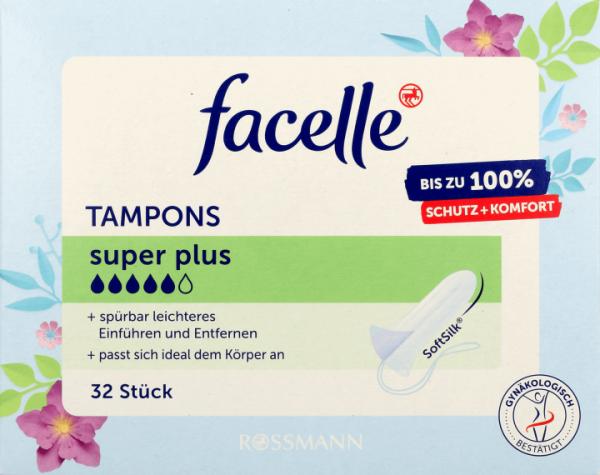 Tampon Facelle - Băng vệ sinh Tampon Facelle Super Plus 5 giọt 32 st - Băng vệ sinh dạng nút - Nội địa Đức giá rẻ