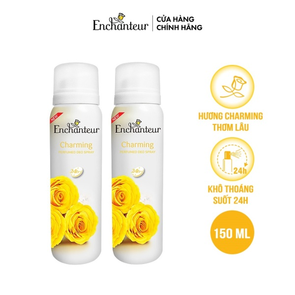 Combo 2 Xịt khử mùi nước hoa Enchanteur Charming 150ml/Chai giá rẻ