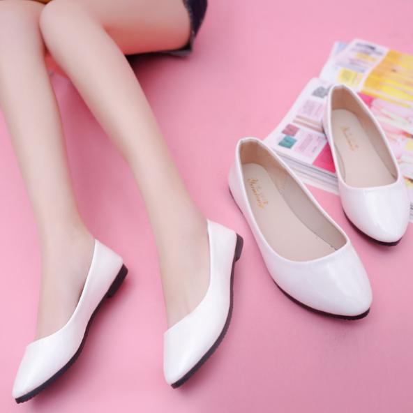 [ảnh thật] giày bệt búp bê cổ tròn màu kem giá rẻ
