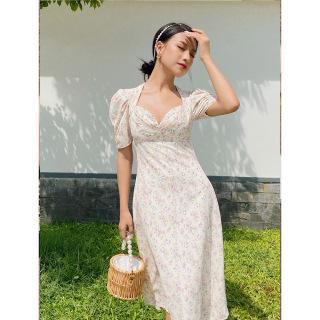 RECHIC Đầm Belinda Họa Tiết Hoa vàng Nhỏ Cúp Ngực Tay Phồng Dáng Dài Xinh Xắn Dễ Thương thumbnail