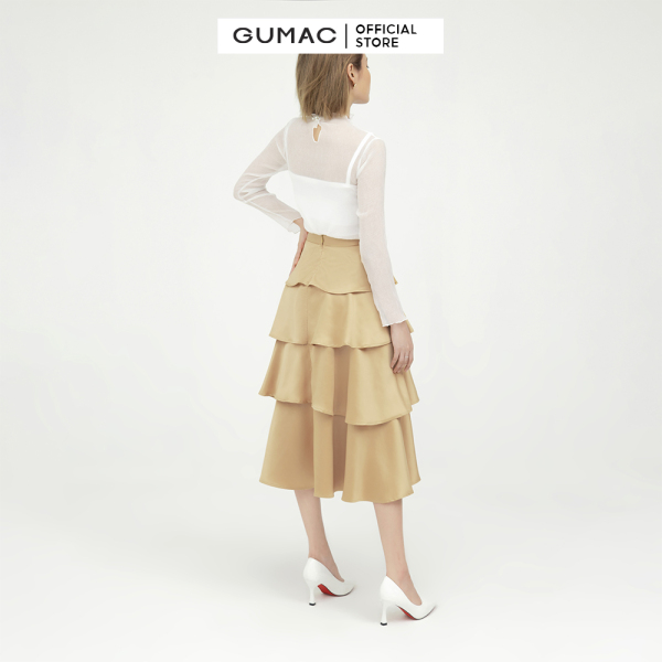 Nơi bán Chân váy nữ  4 tầng GUMAC mẫu mới VB598 Chất Liệu Lụa Pháp form xòe rã tầng style trẻ trung