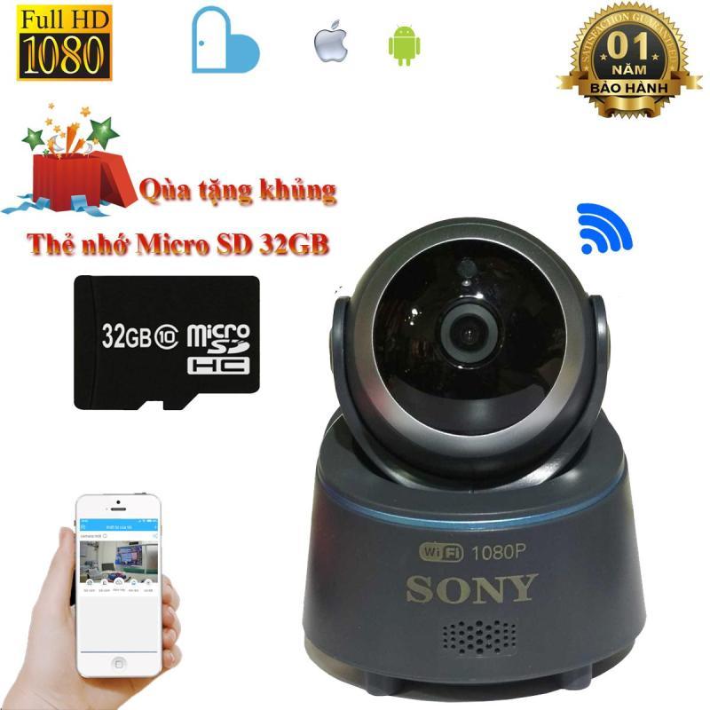 Camera wifi Sony FullHD1080 2.0 quay đêm hình ảnh sắc nét xem trực tiếp từ xa qua điện thoại Android và IOS + thẻ nhớ Micro 32gb class 10