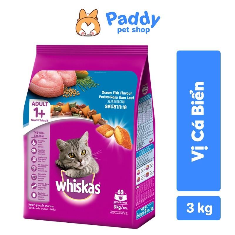 [3kg] Whiskas Thức Ăn Hạt Cho Mèo Lớn Vị Cá Biển - Ocean Fish