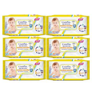 Combo 6 khăn giấy ướt Unifresh Vitamin E 80M (80 tờ x 6 gói) - khăn ướt không mùi thumbnail