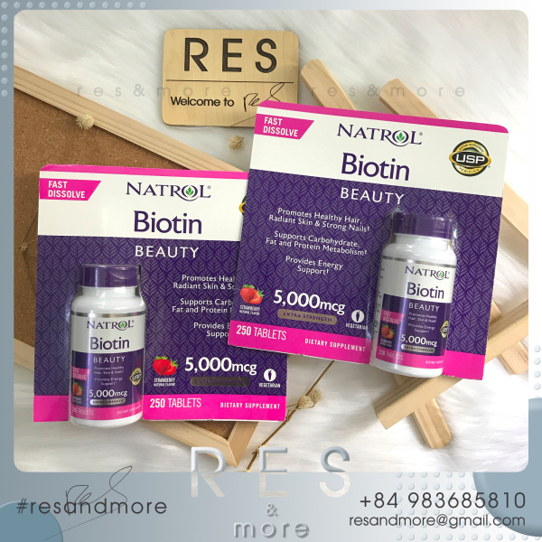 Viên ngậm mọc tóc Natrol Biotin Beauty 5000mcg [250 viên]