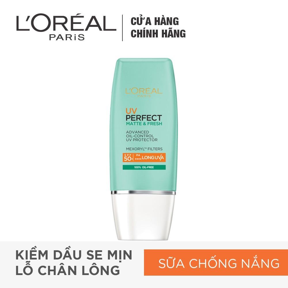 Kem chống nắng bảo vệ toàn diện se mịn lỗ chân lông & chống ô nhiễm LOreal Paris UV Perfect fresh & Matte SPF50/PA++++ nhập khẩu