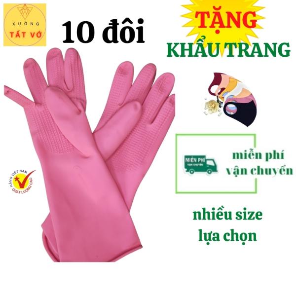 (CÓ VIDEO+FREESHIP) Combo 10 đôi Găng tay cao su rửa chén / BAO TAY CAO SU rửa chén cao su TỰ NHIÊN -Gang tay dọn dẹp-giặt đồ-làm vườn nhiều size HÀNG VIỆT NAM-an toàn cho tay TẶNG KHẨU TRANG SU /tất vớ chuyên sĩ