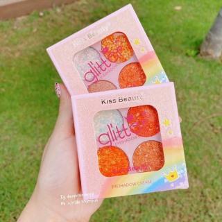 Eyeshadow 4 Ô Màu nhũ Tạo Điểm Nhấn Kiss Beauty Glitter thumbnail