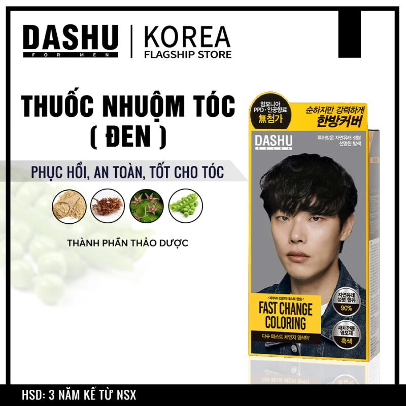 Nhuộm tóc Nam Hàn Quốc màu Đen Dashu Color Fast Change (black) triết xuất tự nhiên, 90% thảo dược, thảo mộc, an toàn, lên men Galactomyces từ ngũ cốc, thực vật hữu cơ, bảo vệ sức khỏe, không hóa chất, phụ gia PPD, Amoniac gây hại cho tóc. giá