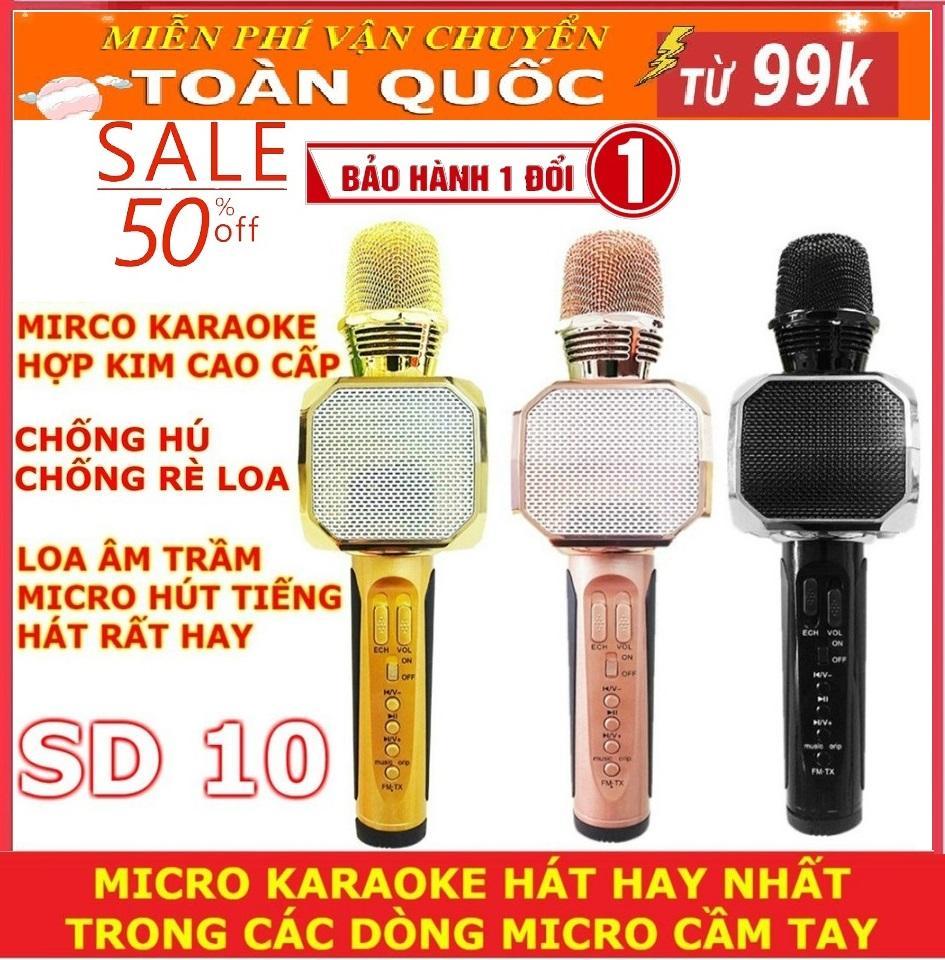Mic Karaoke Kèm Loa Bluetooth, Mic 3 In 1 - Mua Ngay Micro Bluetooth Không Dây Sd10 Âm Thanh Sống Động, Chống Hú, Thỏa Sức Ca Hát - Bh Uy Tín 1 Đổi 1