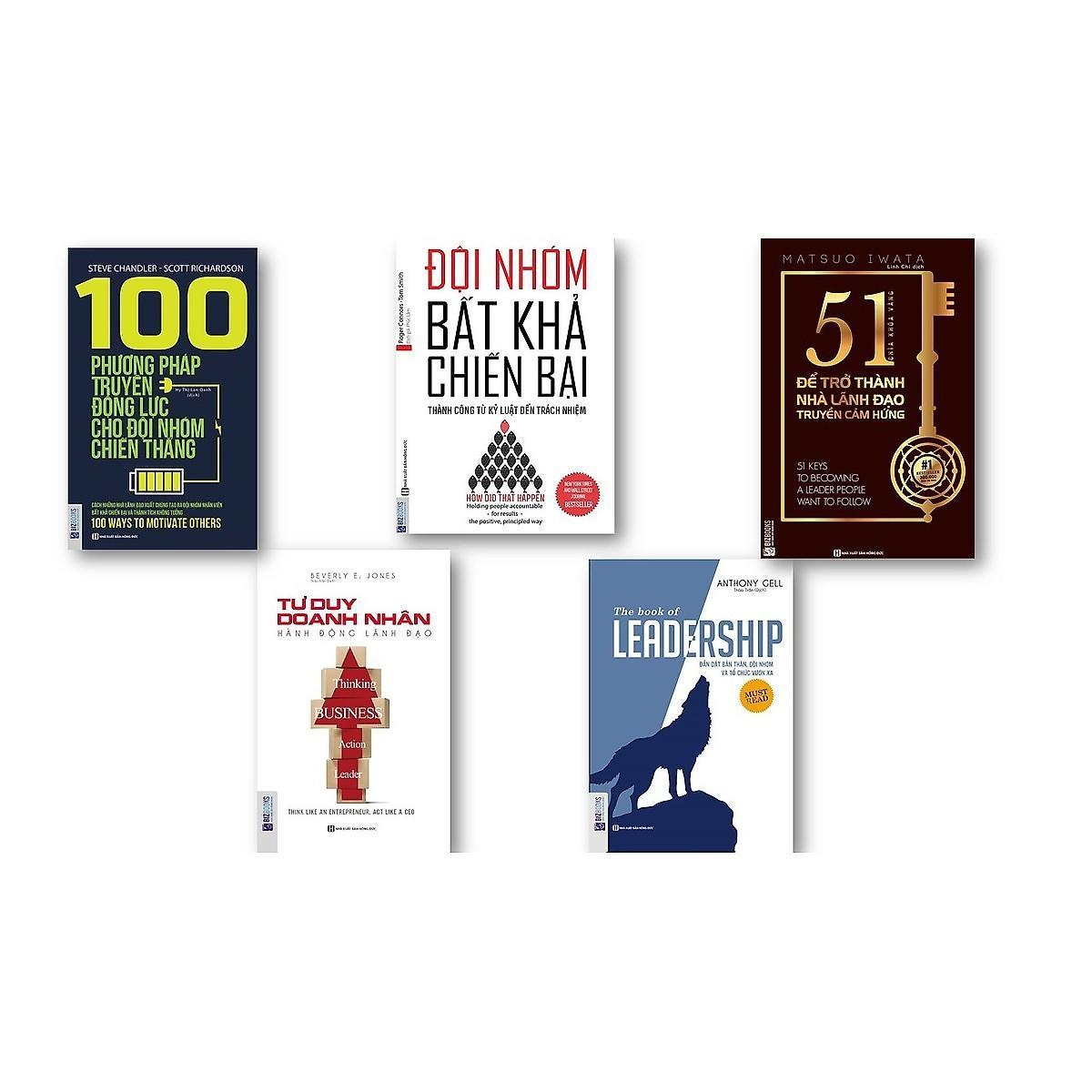 Mua Combo 5 Cuốn sách:The book of leadership + Đội nhóm bất khả chiến bại+51 chìa khóa vàng để trở thành nhà lãnh đạo truyền cảm hứng +Tư duy doanh nhân hành động lãnh đạo+100 phương pháp truyền động lực tặng cuốn 101-lãnh đạo kèm bookm