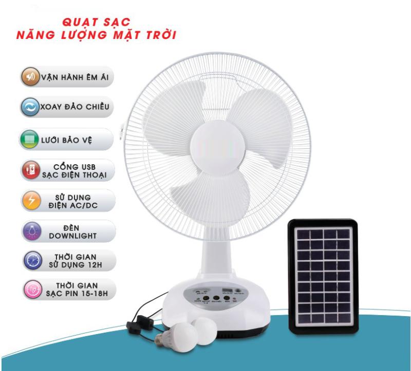 Quạt tích điện sạc từ mặt trời siêu tiết kiệm có 2 bóng tặng kèm