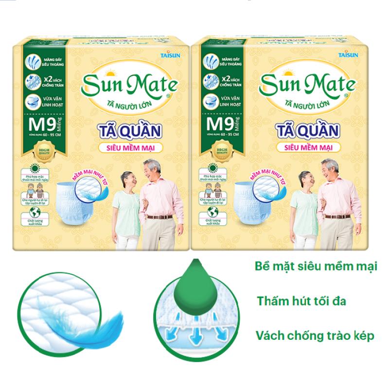 Combo 2 gói Tã quần người lớn Sunmate size M9 (9 miếng x 2)