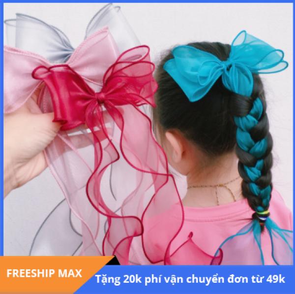 Giá bán B395 - Dây buộc tóc nơ xoan dáng dài cho bé gái