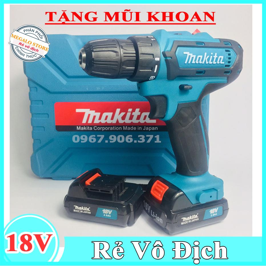 Máy khoan Makita 18V Tặng kèm mũi khoan, Khoan cầm tay bắt vít Megalo Store