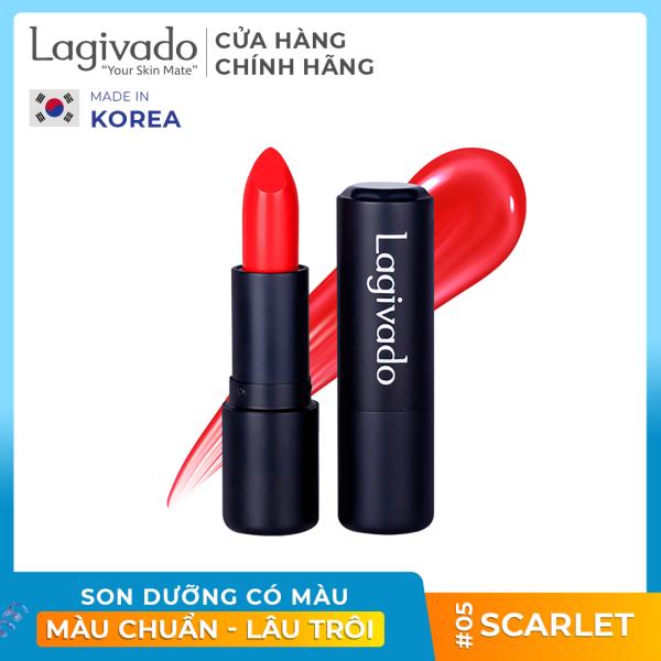 Son lì pha dưỡng lên màu chuẩn, bền màu, lâu trôi không gây khô, thâm môi Hàn Quốc Lagivado Lip Satin chính hãng có 5 màu son dạng thỏi 3,5g giá rẻ
