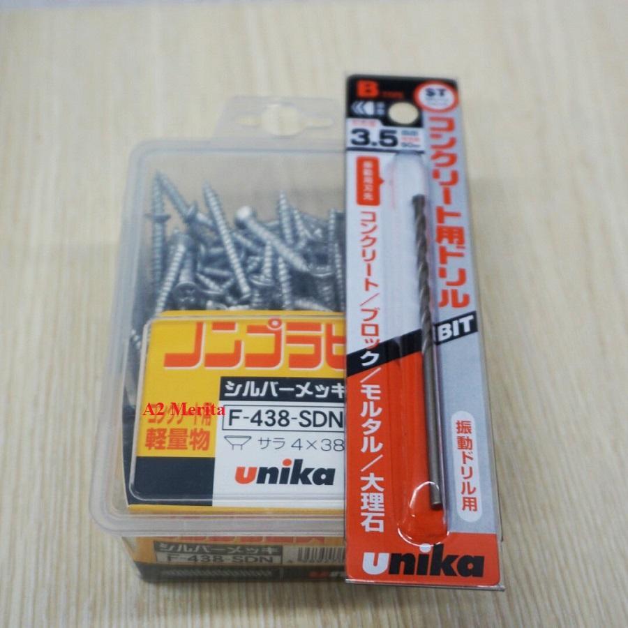 Combo Vít bê tông 4mm đầu bằng F438 & Mũi khoan tường 3.5mm đuôi lục giác Unika (Không cần tắc kê nhựa)