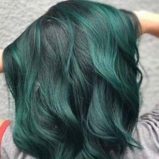 Thuốc nhuộm tóc màu XANH RÊU KHÔNG TẨY + Kèm trợ nhuộm thumbnail
