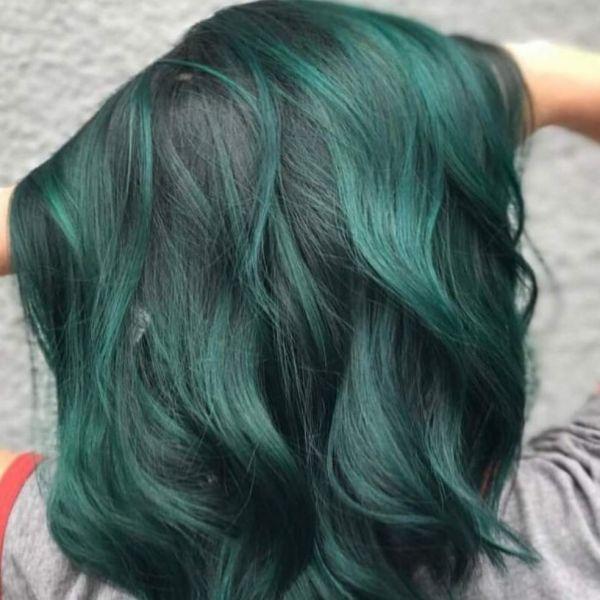Thuốc nhuộm tóc màu XANH RÊU KHÔNG TẨY + Kèm trợ nhuộm