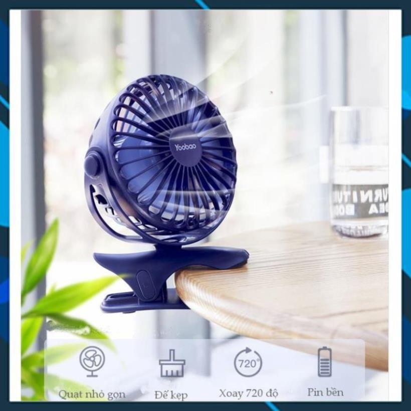 Quạt sạc mini xoay góc 720 độ, đế kẹp đa năng hoặc đặt bàn, với 4 nấc điều chỉnh gió YOOBAO F04 5000MAH