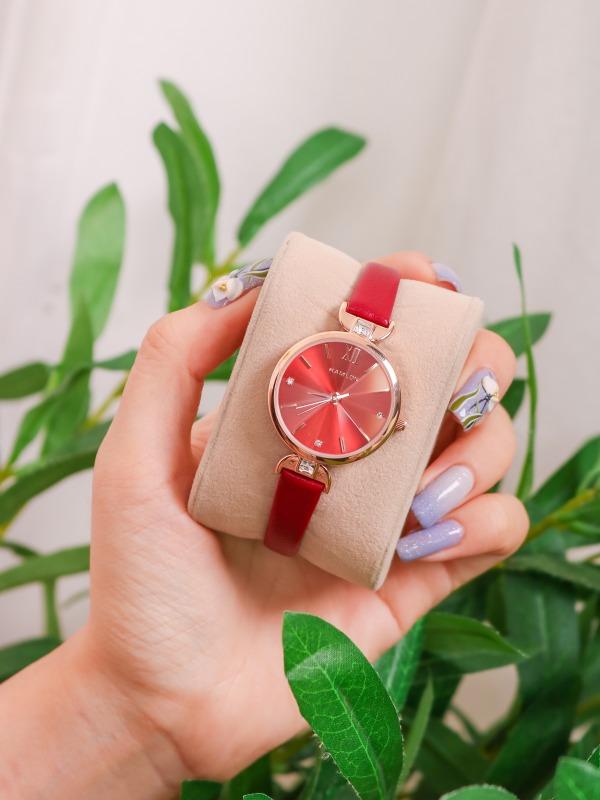 Đồng hồ nữ Kamlon K3021 dây da lăng kính 3D lấp lánh