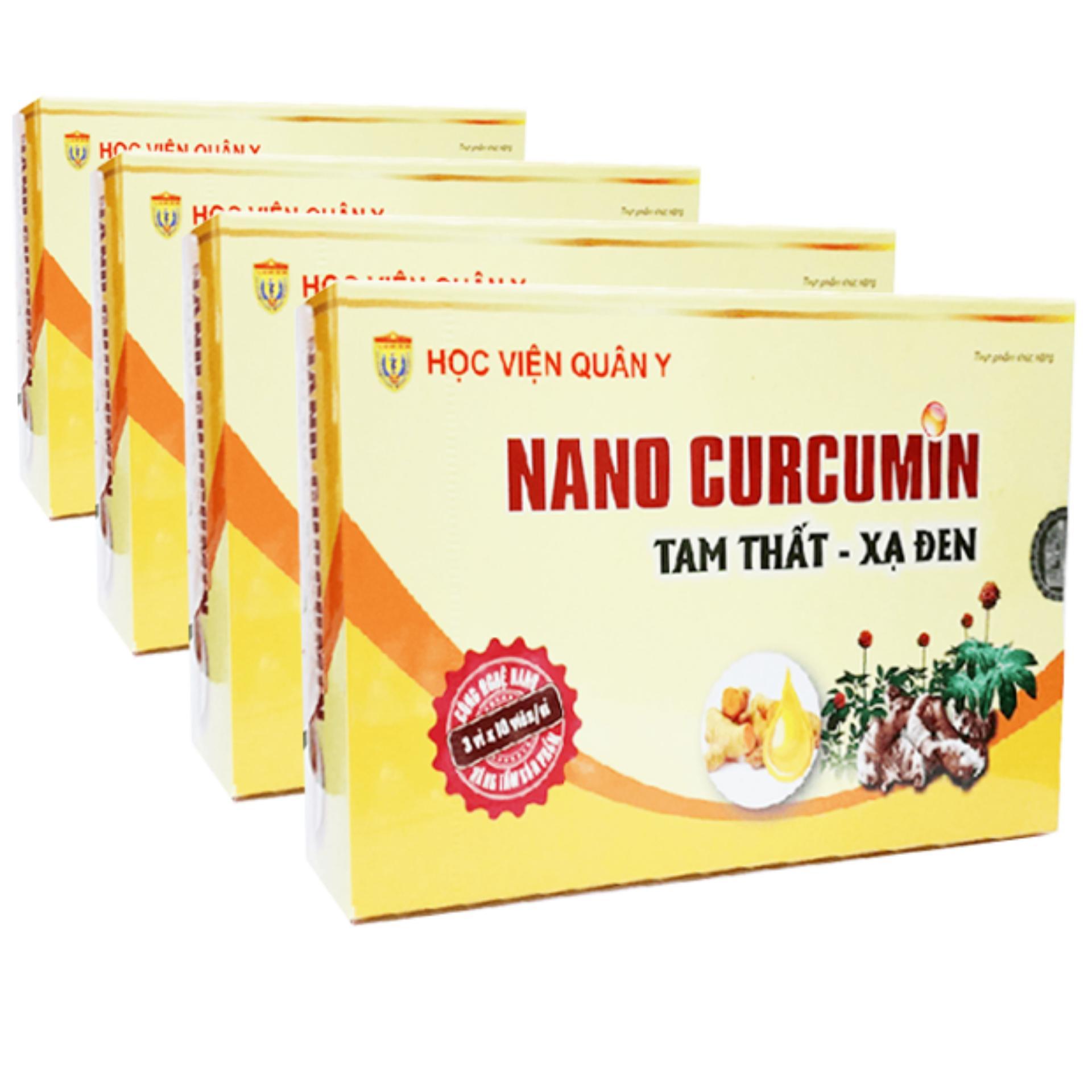 Liệu trình 1 tháng 4 hộp Nano Curcumin Tam Thất Xạ Đen HVQY cao cấp