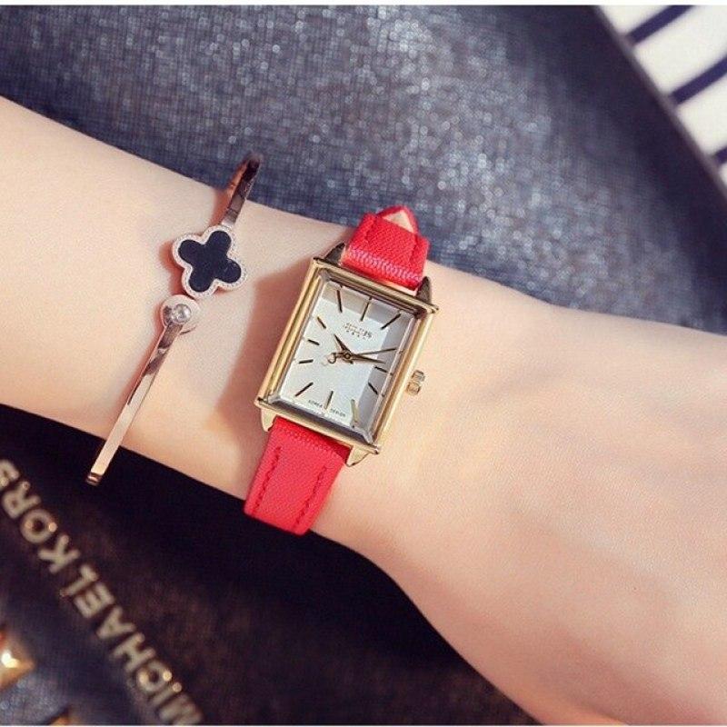 Đồng hồ nữ Hàn Quốc JULIUS JA-787 dây da mặt chữ nhật (Nhiều màu)