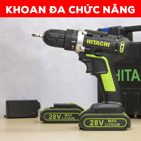 Máy khoan pin cầm tay HITACHI 28v đa chức năng - máy khoan cầm tay - máy bắt vít - khoan sắt- khoan gỗ - bắt vít