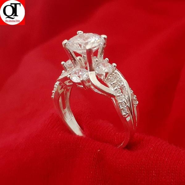 Nhẫn nữ Bạc Quang Thản, nhẫn nữ ổ cao gắn đá kim cương nhân tạo size 5,5 ly chất liệu bạc thật phong cách thời trang có thể chỉnh size tay yêu cầu, thích hợp đeo thời trang, làm quà tặng – QTNU13
