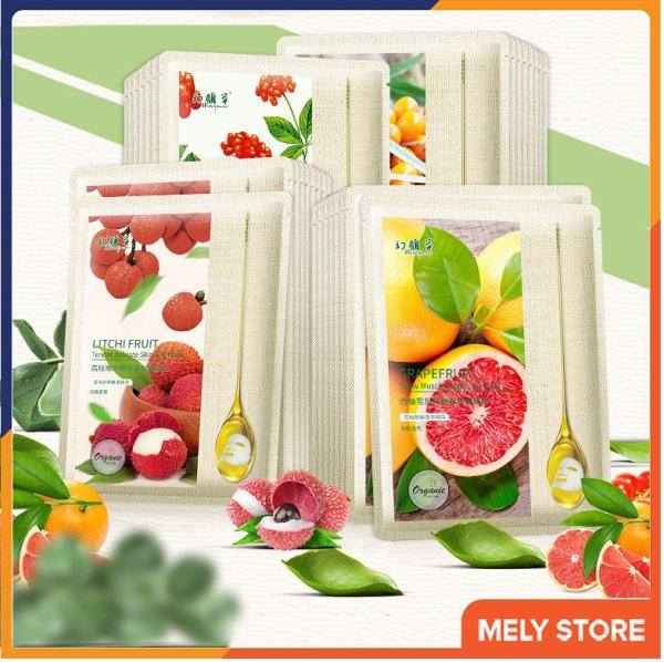 Combo 5 mặt nạ giấy dưỡng da chiết xuất từ tinh chất trái cây Organic giúp dưỡng ẩm, da sáng màu và mềm mịn, làm săn và tăng độ đàn hồi cho da SPU083