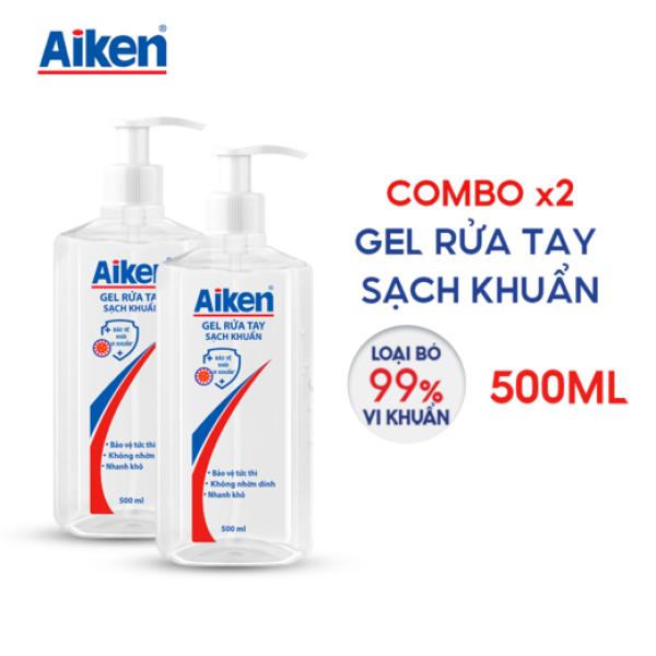 Aiken Combo 2 Gel rửa tay Sạch khuẩn 500ml/chai Dạng vòi giá rẻ