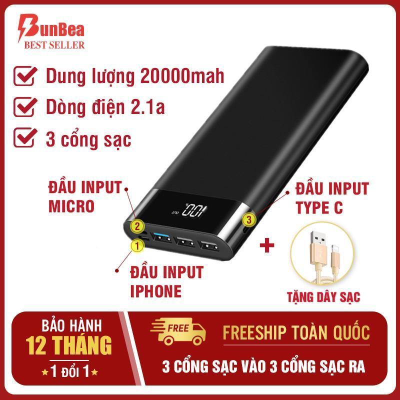 Giá Pin Sạc dự phòng chuẩn 20000mah 3 cổng input 3 cổng output dòng ra 2.1A sạc nhanh màn hình led hiển thị sac du phong 3 cổng sạc vào iphone, android, type c power bank sac du phong tương thích mọi điện thoại B (BUNBEA) b7