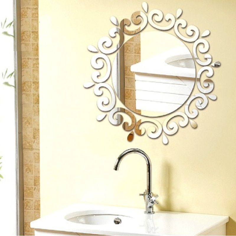1 Pcs 3D Stereo Acrylic Mirror Posted DIY Mirror Restroom Decorative Entrance Wall Stickers - intl